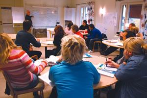 Utbildning med deltagargrupp på Urkraft. Fotograf Olof Palm.